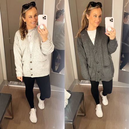 Sweaters for fall! An oversized cardigan is such a cute fall trend. Pair one of these grandpa sweater with leggings or skinny jeans and boots for a super cute fall outfit. Linked these black leggings and some of my favorite white tennis shoes  #LTKshoecrush #LTKunder50 #LTKfit