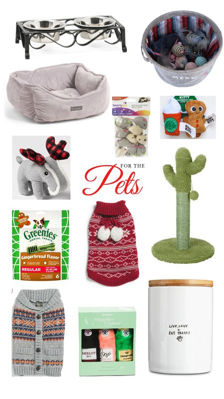 Christmas gift guide for pets. Gift ideas for your cat or dog. Food bowls, dog bed, cat toys, cactus scratch post, sweater, toys, treat canister. http://liketk.it/31uI6 @liketoknow.it #liketkit #LTKgiftspo #LTKunder50 #LTKunder100 #LTKhome #LTKfamily