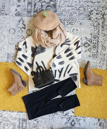 cotton tunic sweater + leather crossbody bag + leggings + suede booties   #LTKunder100 #LTKstyletip #LTKshoecrush
