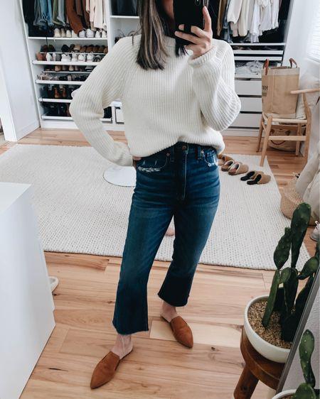 Jenni Kayne mules. How to style crop flare jeans.   Sweater - Jenni Kayne xs Jeans - Madewell 24 (old) Mules - Jenni Kayne 35. Use code Crystalin15  http://liketk.it/38pUQ #liketkit @liketoknow.it