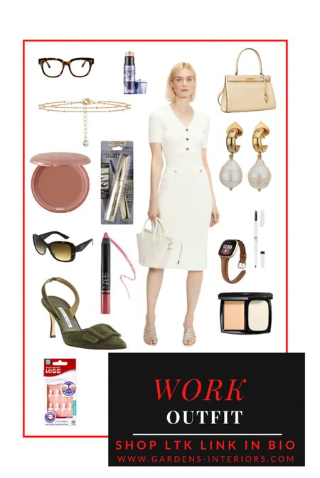 Ted Baker Cream Knit Dress   #falloutfits #workwear #creamdress #tedbaker   #LTKshoecrush #LTKitbag #LTKworkwear