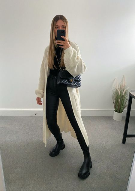 10 ways to wear a maxi cardigan 👉🏼   The perfect transitional layer for those 'in between' outfits. I wasn't much of a cardigan wearer until this came along and now it's all I want to wear.  8. Leather look skinny jeans.    #LTKeurope #LTKunder50 #LTKstyletip