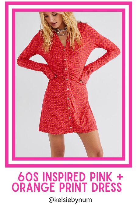 Free People 60s inspired pink and orange print dress.. Shayla mini dress