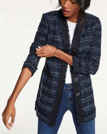 Just ordered this chic tweed jacket to try! I also linked to other gorgeous styles on sale for up to 50% off @liketoknow.it http://liketk.it/2yOYJ #liketkit #LTKholidaystyle #LTKholidaywishlist #LTKsalealert #LTKunder50 #LTKunder100 #thisisann Ann Taylor