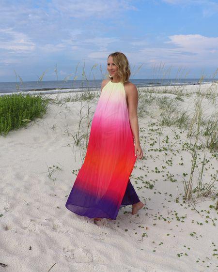 Colorful rainbow beach dress only $30! Found it on Amazon, cruise dress, beach photos outfit. True to size. http://liketk.it/3j4Gl #liketkit @liketoknow.it #LTKunder50 #LTKstyletip #LTKtravel