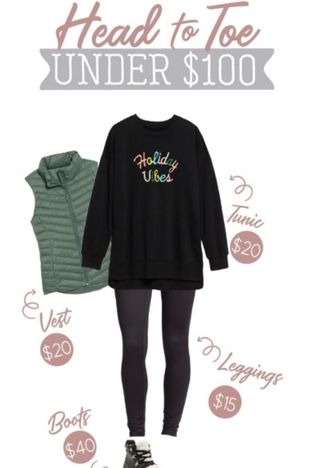 A head to toe under $100 look perfect for the holidays! This tunic sweatshirt has the cutest Holiday Vibes graphic on it, and I'm loving it paired with this green puffer vest! Add a pair of black leggings and these cute Sherpa boots to complete the look! The sweatshirt runs large. I size down 1 size in this style.   Holiday Old Navy  Under $100  #LTKSeasonal #LTKunder100 #LTKHoliday