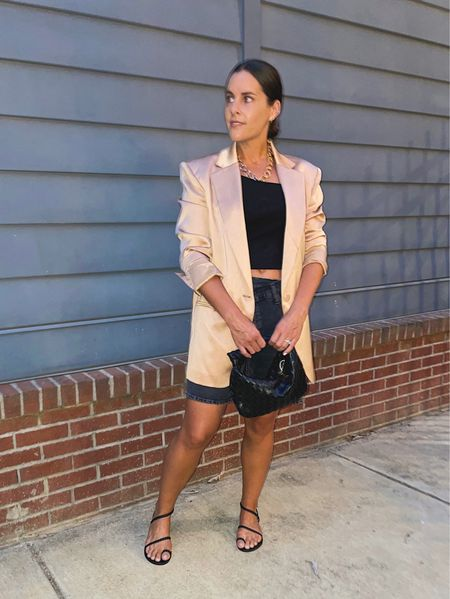 Thought I loved this outfit but now I'm not so sure about the oversized shorts + oversized blazer. If I had a heel on it could have been better or swapped our different denim shorts. Oh well, you win some and you lose some.   #LTKstyletip #LTKtravel #LTKworkwear