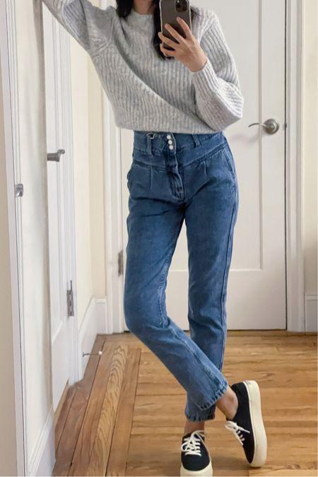 Spring style, spring fashion, classic style, french girl style, mom jeans, straight leg jeans, sezane, everlane, wool sweater, denim, straight jeans, nyc blogger  #LTKunder100 #LTKSeasonal #LTKstyletip