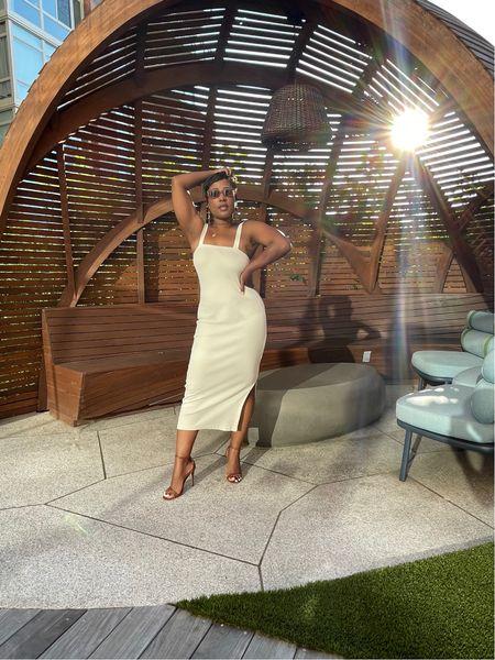 White strappy ribbed knit midi dress strappy  brown stiletto sandals   #LTKstyletip #LTKSeasonal