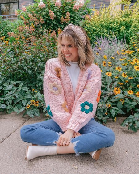 QUESTION FOR YOU- What's more obnoxious- me or this cardigan? I'd say we are about equal but in an endearing, charming way riiiiight? The cutie cardi is from @chicwish 🌸  . . .    #LTKSeasonal #LTKunder50 #LTKsalealert
