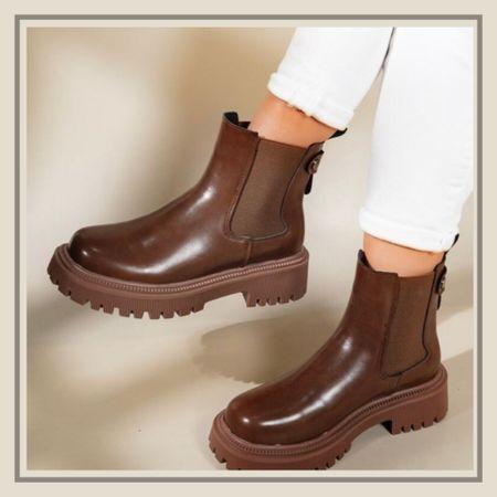 Minimalist chunky brown chelsea boots   #LTKunder50 #LTKshoecrush #LTKstyletip