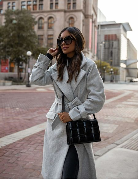 Fall outfit from Express Gray wool coat wearing an XXS Black bodysuit wearing an XXS Express gray denim wearing a 00 Express black sock booties   #LTKsalealert #LTKitbag #LTKunder100