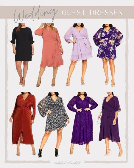 Fall wedding guest dresses | wrap style dress • ruffle dress • floral print dress • midi dress | #rebekahelizstyle   #LTKcurves #LTKwedding #LTKunder100