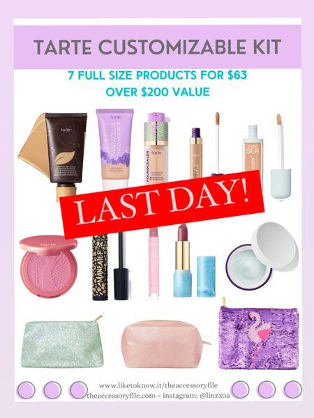 LAST DAY! Tarte customizable kit - 7 full sized products for $63 - over $200 value   http://liketk.it/3hUW9   #liketkit @liketoknow.it #LTKbeauty #LTKsalealert #LTKtravel makeup, skincare, concealer, makeup bag, blush,  foundation, lipstick