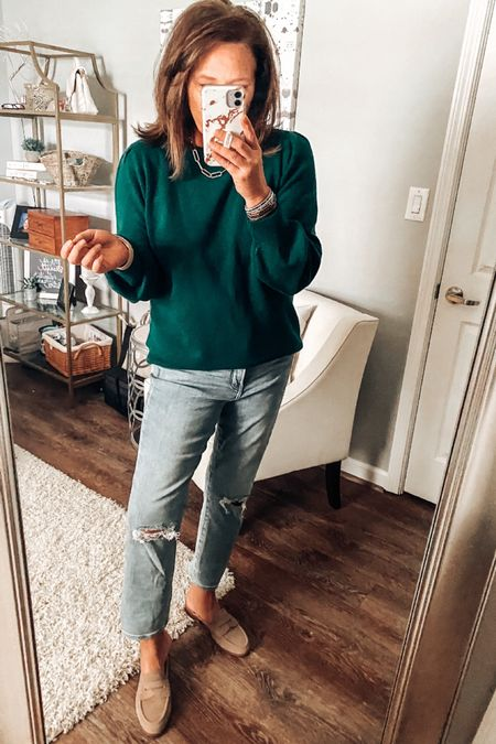 Amazon Essential sweater styled with straight light washed jeans and taupe mules.   Fall outfits, sweaters, straight jeans, mules, dsw, Amazon finds, Amazon fashion #ltkfall #founditonamazon  #LTKsalealert #LTKstyletip #LTKunder50