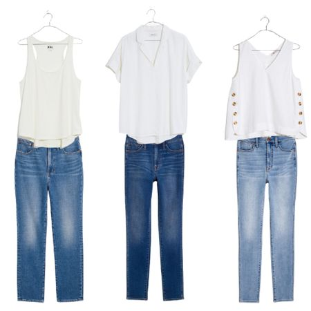 Love these mix and match wardrobe staple pieces. Spend $125 and save $25 during the LTK Day Sale!  Denim : Jeans : Capsule Wardrobe : Madewell : White Top     #LTKunder50 #LTKsalealert #LTKDay