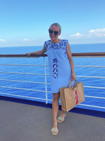 Embroidered dress and 'sun kiss' sandals for today's cruise outfit ☀️💙 #resortwear #monogram #sandals