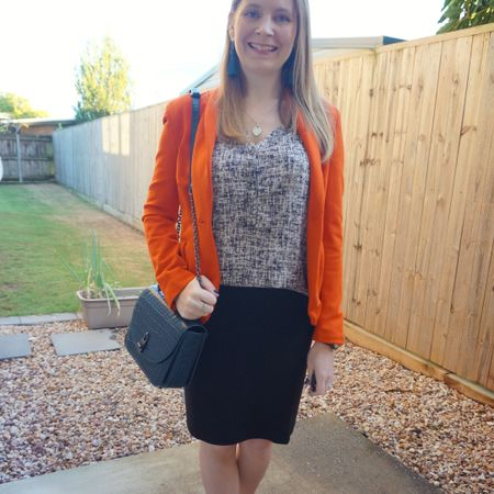 Colourful office wear with my bright orange blazer 🧡 Makes me happy to wear it - not just because of the comfy jersey and the bright colour but because I bought it before lockdown last year and it's good to get back into the office to wear it! Even if my days in in office are sporadic at the moment. Really like this teal Rebecca Minkoff Love Too bag with it, as well as the matchy-matchy teal tassel earrings. Nice way to add colour to a neutral navy printed tank and black pencil skirt for the office.  -----------------   ------------ -----------------------  Screenshot this pic to shop the product details from the @liketoknow.it app, or click here: http://liketk.it/3fW4a #liketkit