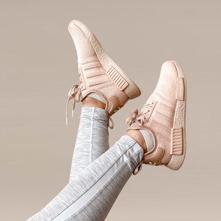 Fave kicks! Adidas NMD R1 Ash Pearl/Ash Pearl | runs half a size big | wearing size 7    #LTKfit #LTKshoecrush #LTKstyletip