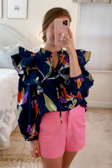 The cutest floral fall blouse. Wearing an XS, my usual size.