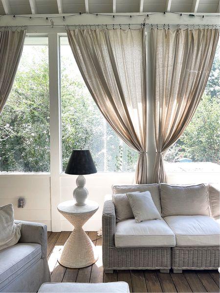 9 x 12 Drop cloth curtains on the porch 🙌   👍  #LTKunder50 #LTKunder100