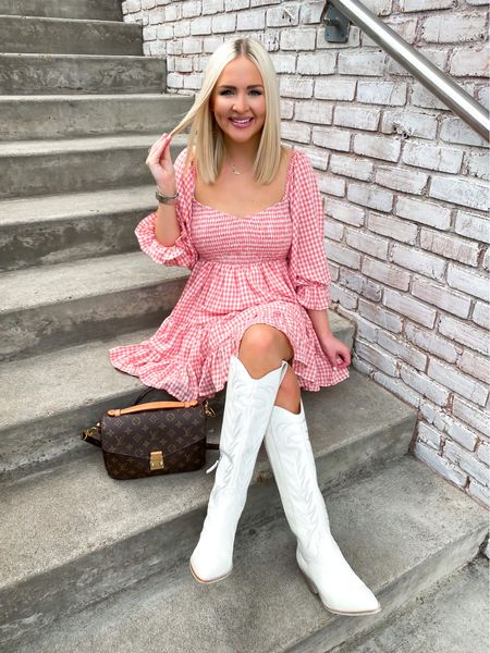 Western boots, white western boots, white cowboy boots, pink gingham print dress   #LTKHoliday #LTKSeasonal