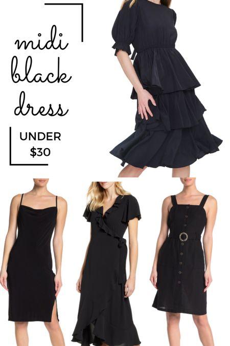 Little black dress on sale, black midi dress, ruffle dress, satin slip dress http://liketk.it/2RlGc #liketkit @liketoknow.it #StayHomeWithLTK #LTKsalealert #LTKunder50