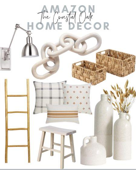 Coastal neutral home decor, home decor, Amazon home, wood links, baskets, blanket ladder, beach house, rattan, natural wood, fall decor    #LTKunder50 #LTKhome #LTKunder100