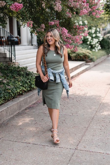 Summer to fall outfit. Wardrobe staple tank dress and favorite denim jacket 25% off with code LAURENMDIX25!! The gray version of my dress is also on sale + an additional 30% off with code CHEERS!   #LTKunder100 #LTKstyletip #LTKsalealert