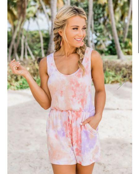 Tie dye romper, must have summer look, vacation outfit http://liketk.it/39otK #liketkit @liketoknow.it #LTKunder50 #LTKtravel