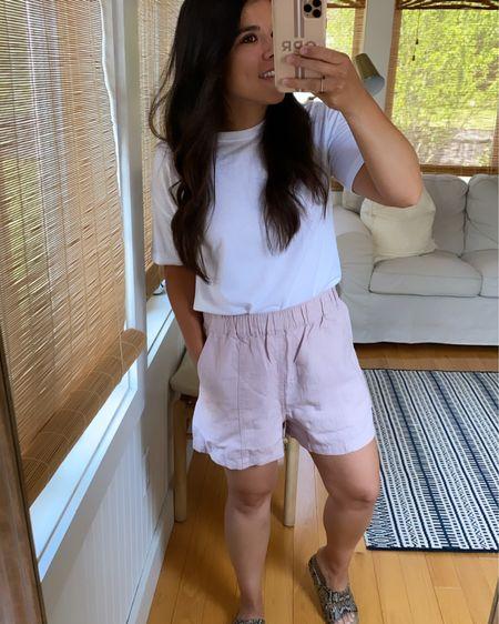 Linen shorts that are so comfy and love the color, but sadly don't work for me. Size down by one or two sizes! @liketoknow.it #liketkit http://liketk.it/3g9An #LTKunder50 #LTKshoecrush #LTKsalealert