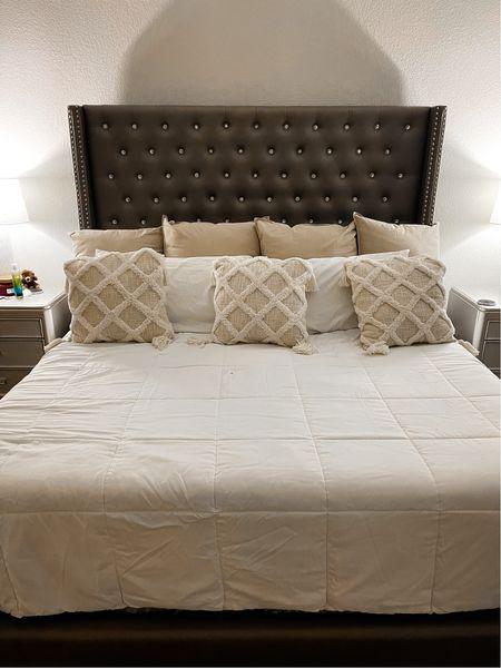 Master bedroom bedding, home decor, bedroom decor, affordable bedding, white comforter, throw pillows, euro pillows   #LTKfamily #LTKhome