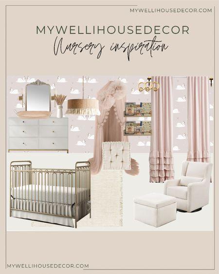 Nursery inspiration: baby girl nursery ideas Baby canopy, pink curtains, dresser  #LTKbaby #LTKhome #LTKfamily