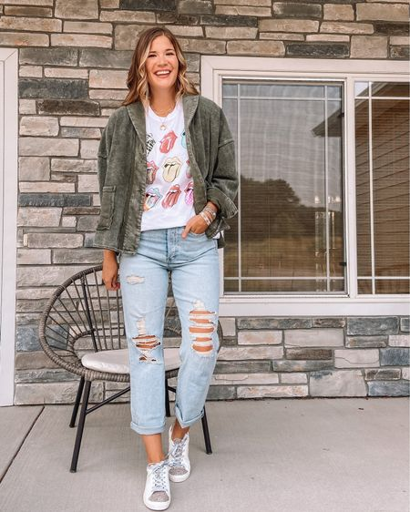 Free people Jordan dupe jacket / Rolling Stones tee / $22 long jeans / white and cheetah sneakers  #LTKsalealert #LTKstyletip #LTKunder50
