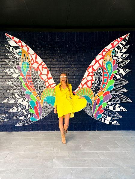 Yellow dress on sale for $90!   Yellow twirly dress, wedding guest dress, spring dress, neon midi dress, tan cowboy ankle suede boots, metallic reflective sunglasses   #LTKunder100 #LTKwedding #LTKshoecrush