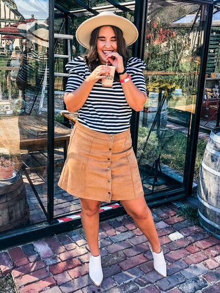 Spent the day at a cider mill and ended it at a winery! It's everything I wanted from a perfect fall day. I wore this $22 striped puff sleeve tee from target, TTS I'm in a small and this $19 suede skirt from Amazon! Also fits TTS. I'm in a large but needed a medium for a better fit! Also linked a $16 dupe for this wide brim hat!   #LTKSeasonal #LTKstyletip #LTKunder50