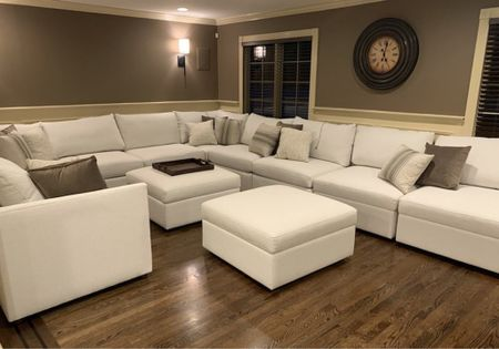 The best pit sectional sofa couch for family night! Movie night, living room decor, living room inspiration, home decor, sofas, couches, pit couch  You can instantly shop my looks by following me on the LIKEtoKNOW.it shopping app   #LTKhome #LTKfamily #LTKstyletip