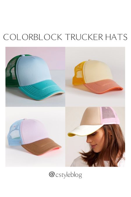 Cynthia Rowley colorblock trucker hats - freaking out over these!!   #LTKtravel #LTKunder100 #LTKfamily