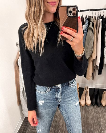 This sweater is a staple that I bought at the sale last year! Wearing a XS. Fits TTS. $55 jeans that feel way more expensive! Wearing a size 26. Fits TTS. #liketkit #NSALE #nordstromanniversarysale #nordstromsale #nordstrom  #LTKsalealert #LTKunder50 #LTKunder100