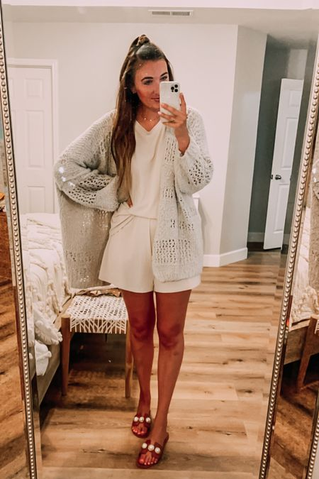 Favorite cozy travel outfit, loungewear. Nude shorts and top - tts. Open knit cardigan - tts (naturally oversized).   #LTKunder100 #LTKstyletip #LTKtravel