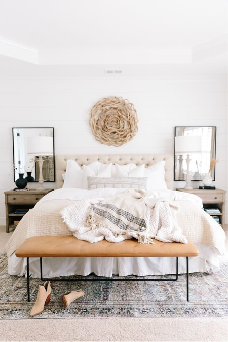 Neutral bedroom for the win! I love this space and the wood tones in here! It's such a calming space 🤍 http://liketk.it/3gJAG #liketkit @liketoknow.it #LTKhome #neutraldecor #bedroomdecor #bedroomdesign #neutralbedroom