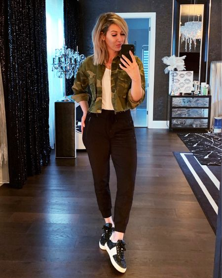 Casual Friday! These are the best joggers and basic tank ever!!! They are both must haves for me, wear them all the time! My jacket is boxy, I sized down to XS for a normal fit. http://liketk.it/2ANLk #liketkit @liketoknow.it