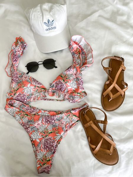 Feminine and floral bikini with casual strappy Amazon essential sandals and an adidas cap! This ZAFUL Women Swimsuit V Wired Bathing Suit Floral Tie Reversible Bikini Set is so flirty and fun!  Amazon fashion swim favorites!   #LTKswim #LTKtravel #LTKunder50