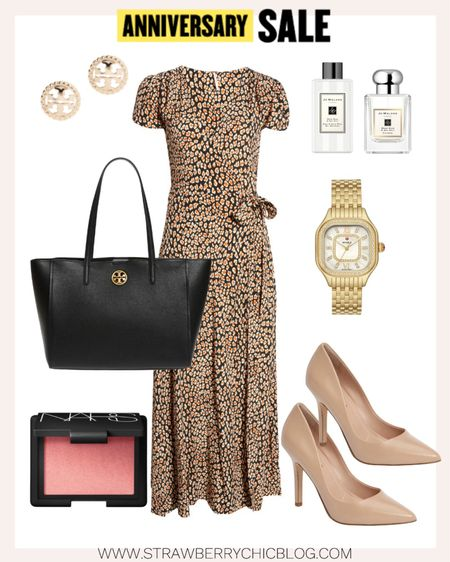 This maxi wrap dress paired with a black Tory Burch tote would be perfect to wear to church or work.   #LTKstyletip #LTKworkwear #LTKsalealert