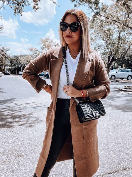 Long coatigan, Spanx leather, white tee, veja sneakers, Celine sunglasses, Chanel boy bag   #LTKSeasonal #LTKSale #LTKstyletip