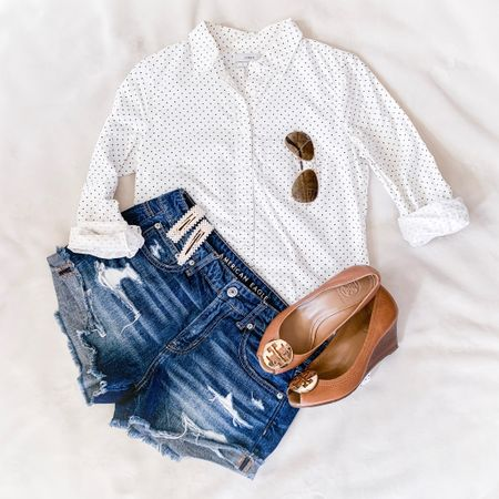 Another Summer outfit: white shirt and shorts.  . . . You can instantly shop all of my looks by following me on the LIKEtoKNOW.it app @liketoknow.it #liketkit http://liketk.it/2Cq4e