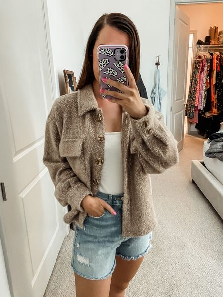Fall outfit // fall style // shacket // sweater outfit// fall fashion // denim shorts // under $150 // z supply // cozy clothes // sweater weather   #LTKunder100 #LTKtravel #LTKsalealert