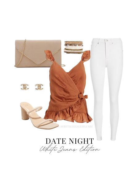 Date Night White Jeans Edition  Nude sandals | white jeans | nude purse | bracelets | earrings    #LTKcurves #LTKstyletip #LTKunder100