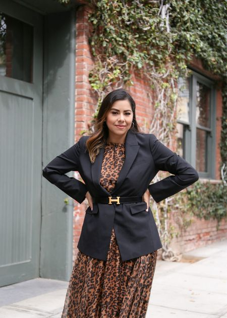 Black blazer, leopard maxi dress, hermes belt  #LTKSeasonal #LTKstyletip #LTKDay
