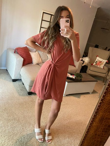 Adorable rubbed wrap dress under $33! Love this for the office! Also comes in green.  #LTKworkwear #LTKunder100 #LTKunder50
